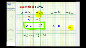 ex solving one step equation by add subtracting integers var on left