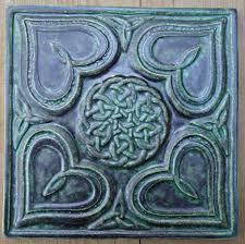 6X6 Decorative Ceramic Tile Decorative handmade ceramic tile Relief carved Celtic heart 74