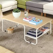 white coffee tables. Topeakmart Modern Rectangular Wood Coffee Table With White Metal Storage Shelf Tables