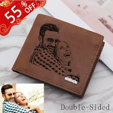 personalized double sided photo vintage soft leather men s trifold wallet