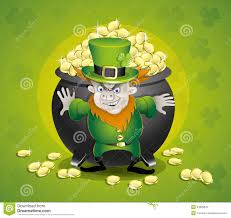 pot of gold and leprechaun  stock vector   image    pot of gold and leprechaun