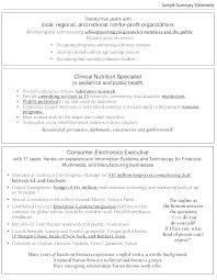 Resume Summary Samples Fascinating Resume Career Summary Example Summaries Examples Entry Level