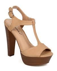 breckelles ed41 leatherette p toe t strap wooden chunky heel sandal