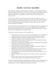 Quality Assurance Specialist Risk Management Cover Letter Quality