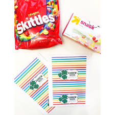 card stock paper stapler skittles snack size ziplock bags scissors and a rainbow seeds printable you can create your own or use mine from my