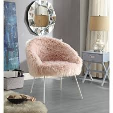 ana rose fur accent chair metal legs upholstered living room entryway