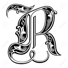 ゴシック様式の美しい装飾英語アルファベット手紙 R