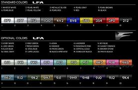 2012 Lexus Color Chart Lexus Lfa Color Codes Clublexus Lexus Forum Discussion
