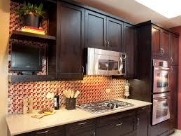 dark oak kitchen cabinets. Dark Wood Kitchen Cabinets With Patterned Backsplash Oak E
