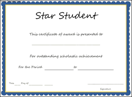 Star Of The Month Certificate Template Star Student Award Certificate Template Student Award Template
