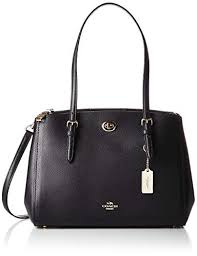Coach Turnlock Medium Light Black Leather Ladies Carryall Handbag 55679LIBLK