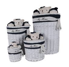 One Design Home Baskets Amazon Com Anne Home Set Of 4 Oval Willow Baskets With Bear