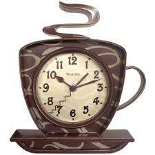 American Diner Kitchen Accessories Amazoncom Westclox 32038 Coffee Time 3 D Wall Clock Kitchen