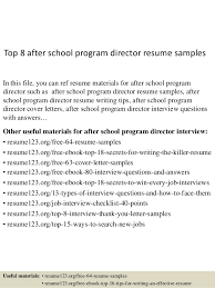 after school program resume