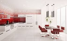 White And Red Kitchen Interior Of Modern White Kitchen With Red Gradient Mosaic Walls