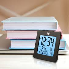 portable compact battery travel alarm clock small digital date temperature black hover to zoom