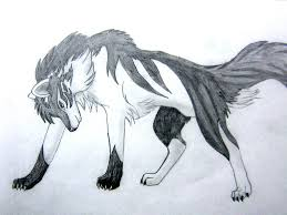 white wolf drawing anime. Contemporary White Black Wolf And White In Love To White Wolf Drawing Anime H