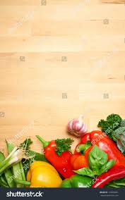 Vegetable Border Design Healthy Organic Vegetables On Wooden Background Stock Photo