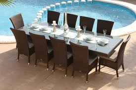 modern outdoor dining sets. Lighting For The Outdoor Dining Room : Modern Beside Swimming Pool With Sets