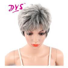 Us 1425 42 Offdeyngs Pixie Cut Grote Golf Synthetische Pruiken Voor Zwarte Vrouwen Korte Grijs Blond Kleur Natuurlijke Kapsel Hittebestendige