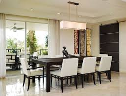 view in gallery modern dining area and patio connected with sliding glass doors behind white curtains