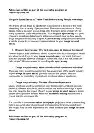 drugs in sport essay a theme that bothers many people  drugs in sport essay a theme that bothers many people nowadays