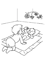 Kleurplaat Broertje Speelt Met Baby Zusje 4476 Kleurplaten