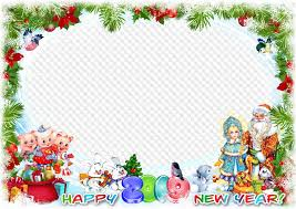 happy new year 2019 photo frame with and snow maiden