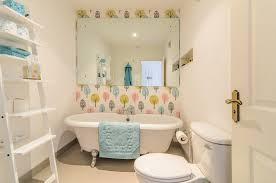 leaning ladder shelf in Bathroom Contemporary with Tree Wallpaper ...