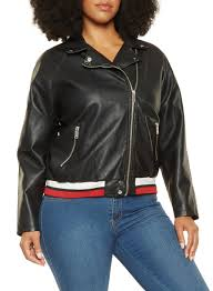 plus size striped trim faux leather moto jacket black large