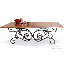 Copper Top Kitchen Table Alexander Wrought Iron Dining Table With 84 X 42 Inch Copper Top