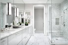 White Modern Master Bathroom The Austonian Austin TX by Greer