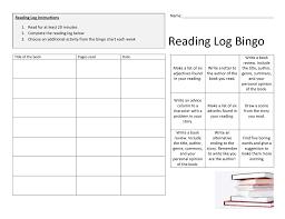 Reading Log Chart Reading Log Bingo