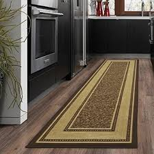 rugs for wood floors. Ottomanson Ottohome Collection Contemporary Bordered Design Non-Skid (Non-Slip) Rubber Backing Modern Runner Rug, 20\ Rugs For Wood Floors