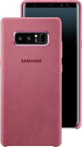 front and back view of the galaxy note8 in the alcantara cover in pink