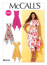 Mccalls Pattern Best M48 Misses' HandkerchiefHem Dresses Sewing Pattern McCall's