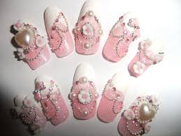 Hime gyaru pink glitter nails with bows and roses full false/fake ...