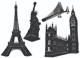 famous architectural buildings black and white. Free Vector Well-known Black-and-white Building Material Famous Architectural Buildings Black And White