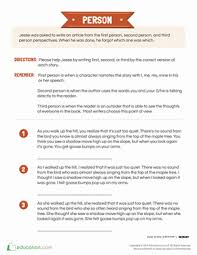 point of view writing for kids worksheet com fourth grade reading writing worksheets point of view writing for kids