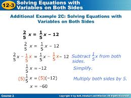 additional example 2c solving equations with variables on both sides