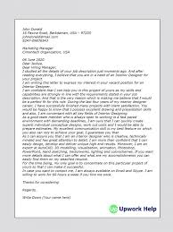 Work Cover Letter Interesting Cover Letter Sample On Interior Design Upwork Help Designer R