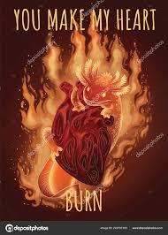 сделать мое сердце сжечь саламандра горящий сердце эскиз изображения