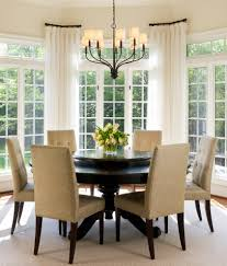 Curtain Rods For Bay Windows Dining Room Transitional With Bay - Bay window in dining room
