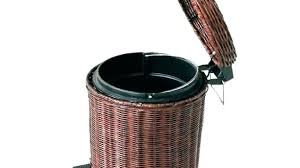 outdoor wicker trash can garbage cans contemporary s with brown