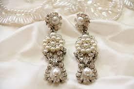 bridal earrings chandelier silver victorian chandelier earrings rhinestone pearl wedding pearl earrings statement earrings vintage earrings
