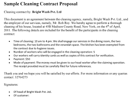 sample cleaning contract agreement cleaning contract proposal template