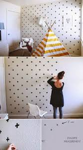use tape to make plus pattern and make a creative wall 16 awesome and easy diy wall decorating ideas