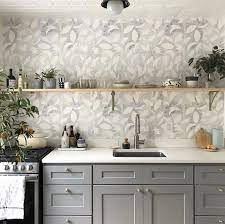 Dotted Leaves Wallpaper in Gray-Lilac ...