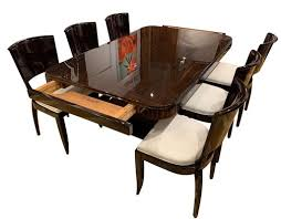 art deco expandable dining room set in