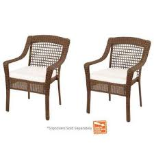 spring haven brown wicker patio dining chairs with cushions included choose your own color